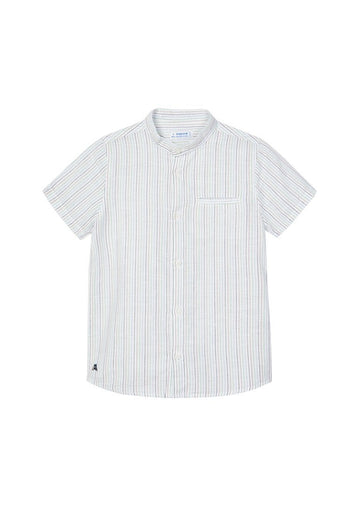Mandarin Collar Short Sleeve Stripe Shirt Top Mayoral