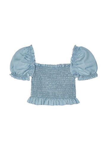 Ruched Crop Top - Chambray Top Mayoral