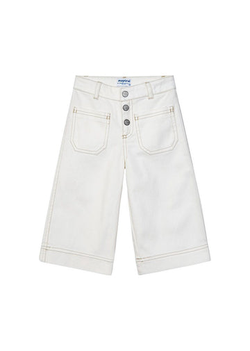 Denim Wide Leg Pants - White Pant Mayoral
