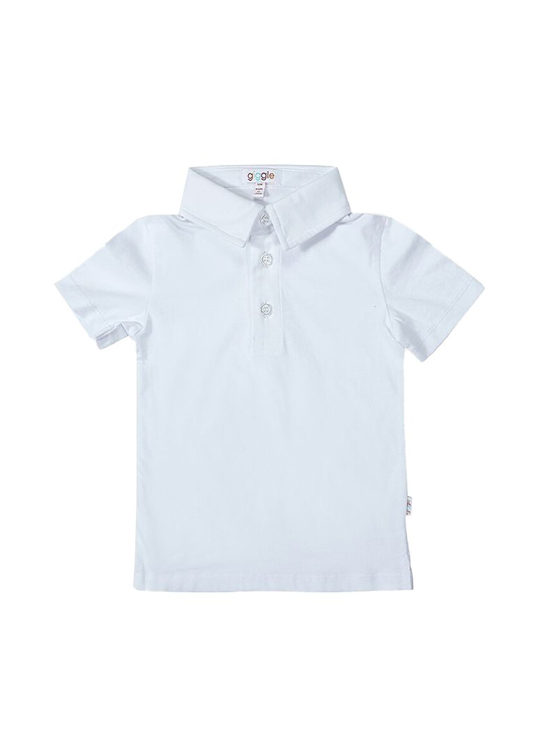 Ashton Short Sleeve Polo - White Top Giggle