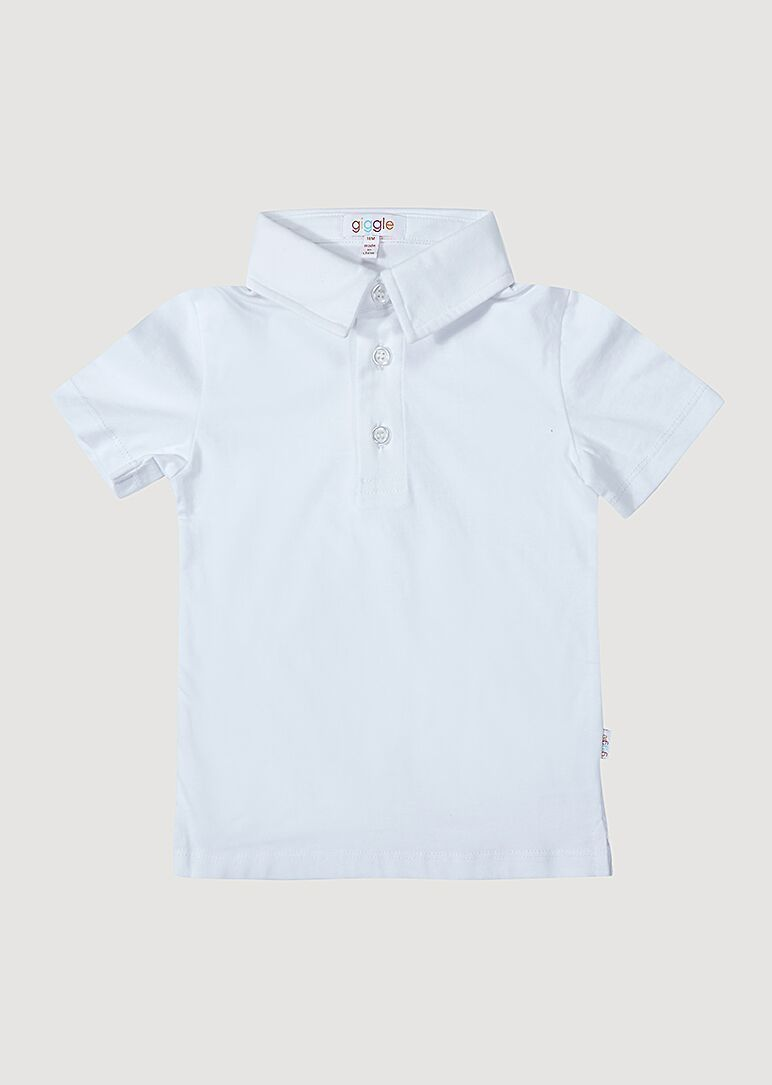 Ashton Short Sleeve Polo - White Top Giggle 18M White