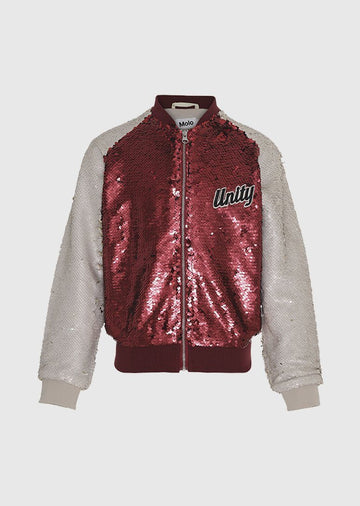 Sequin Red Varsity Jacket Outerwear Molo