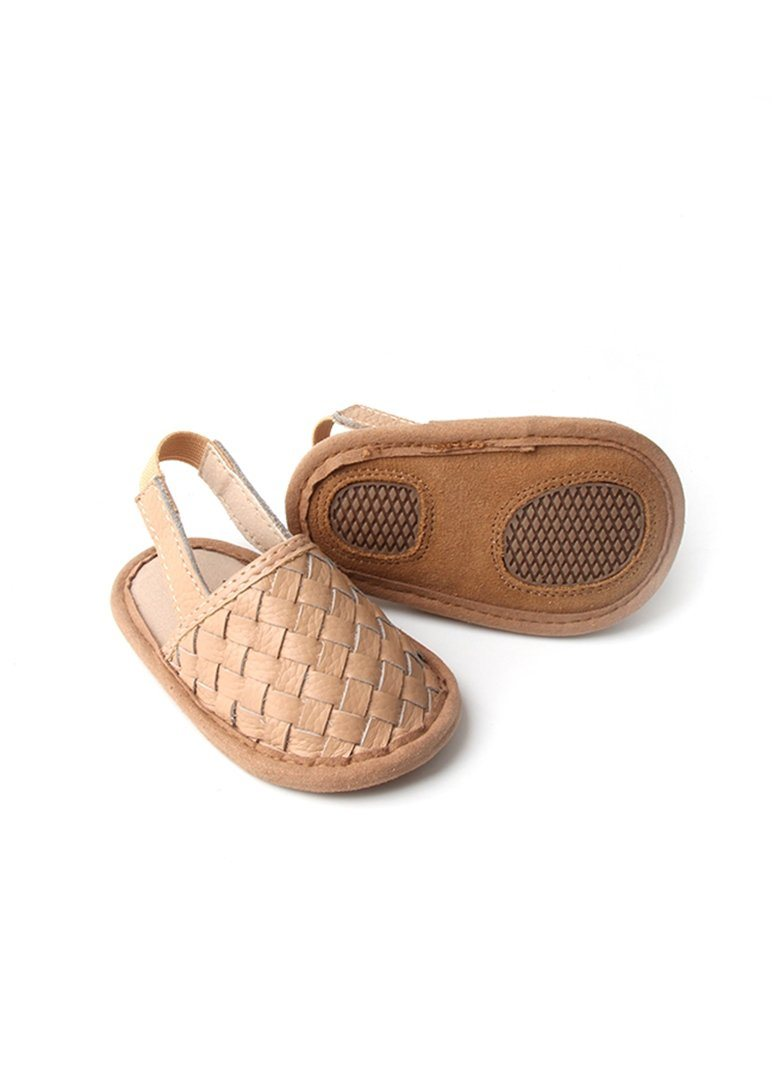 Woven Leather Baby Sandals - Latte Shoes Babe Basics