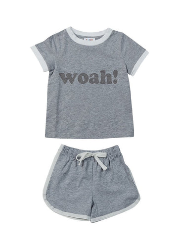Dakota Retro Short Set - Grey Set Giggle
