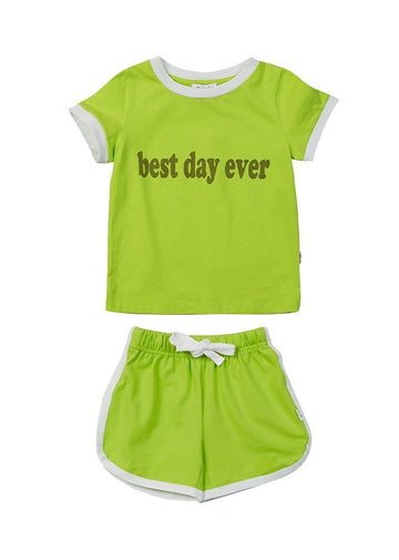 Dakota Retro Short Set - Lime Green Set Giggle