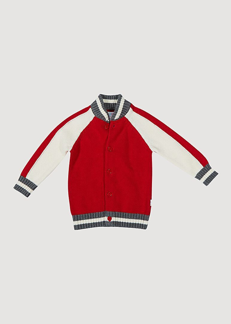 Bentley Varsity Sweater - Red Outerwear Giggle 6M Red