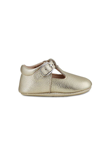 Soft-Soled Leather Baby Mary Janes - Gold Shoes Babe Basics
