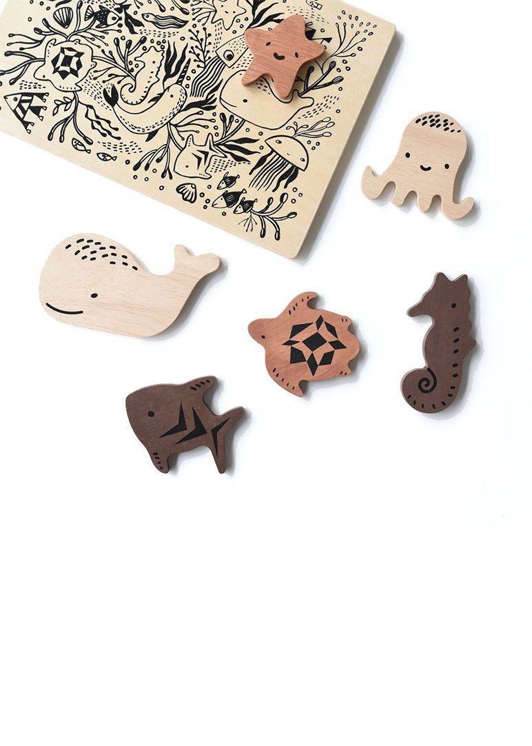 Wooden Tray Puzzle - Ocean Animals Toy Wee Gallery