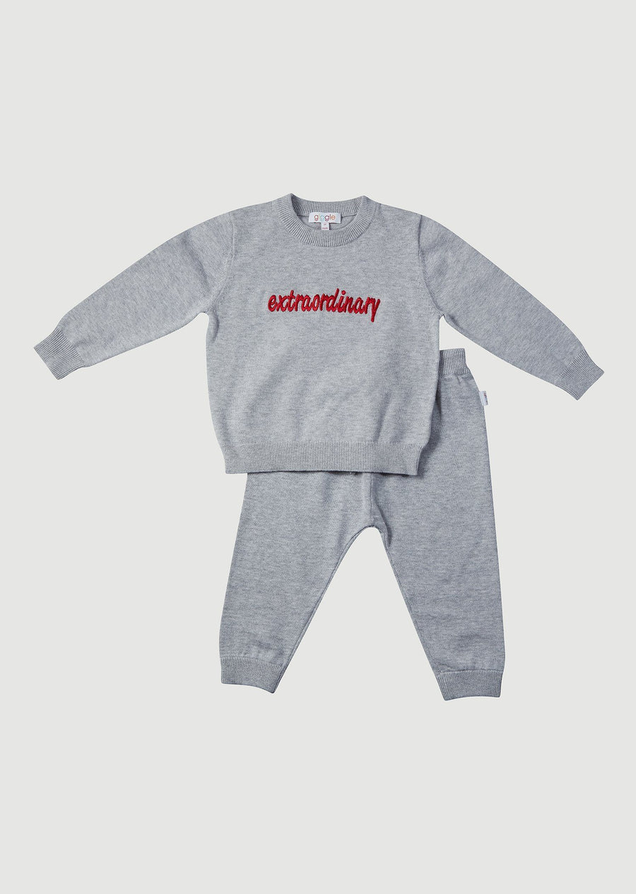 Parker Cotton Play Sets - Grey Embroidered Set Giggle 6M Heather Grey