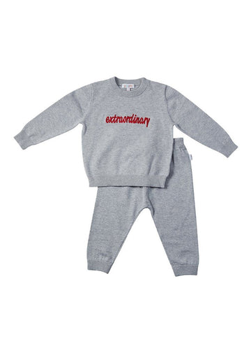 Parker Cotton Play Sets - Grey Embroidered Set Giggle