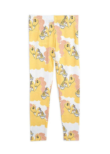 Unicorn Noodles Leggings - Yellow Pants Mini Rodini