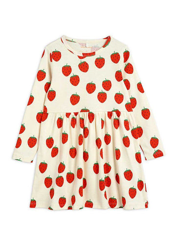 Strawberry Long Sleeve Dress Dress Mini Rodini