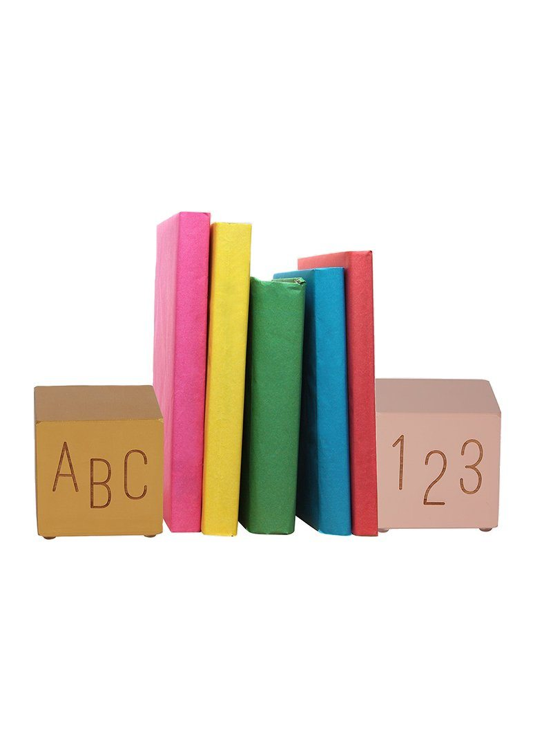 Pink and Gold Bookends ABC-123 Decor Tree by Kerri Lee