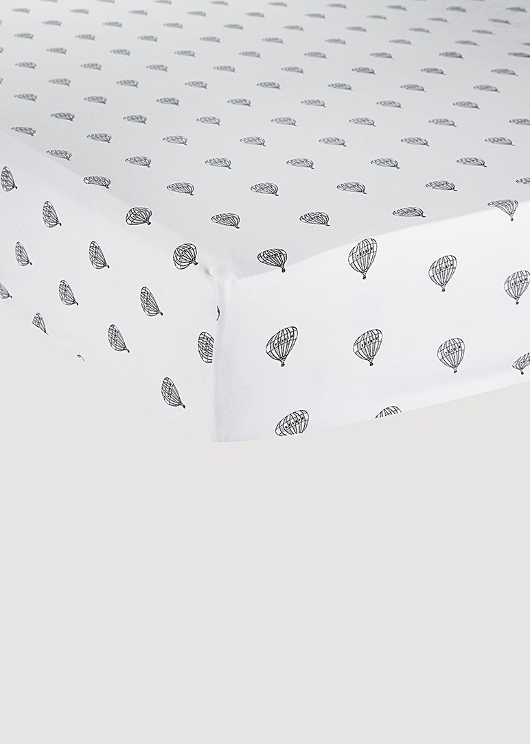 Grey Hot Air Balloon Crib Sheet Linen Giggle