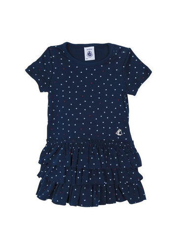 Navy Heart Ruffle Dress Dress Petit Bateau