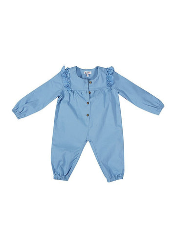 Eleanor Twill Woven Jumpsuit - Blue jumpsuit Giggle