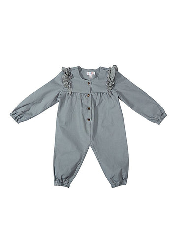 Eleanor Twill Woven Jumpsuit - Grey jumpsuit Giggle