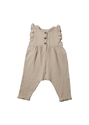 Emma Ruffle Jumpsuit - Wheat jumpsuit Giggle