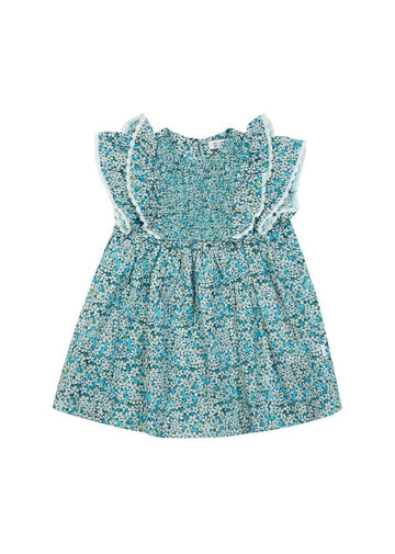 Erin Liberty Print Smocked Dress - Blue Floral dress Giggle
