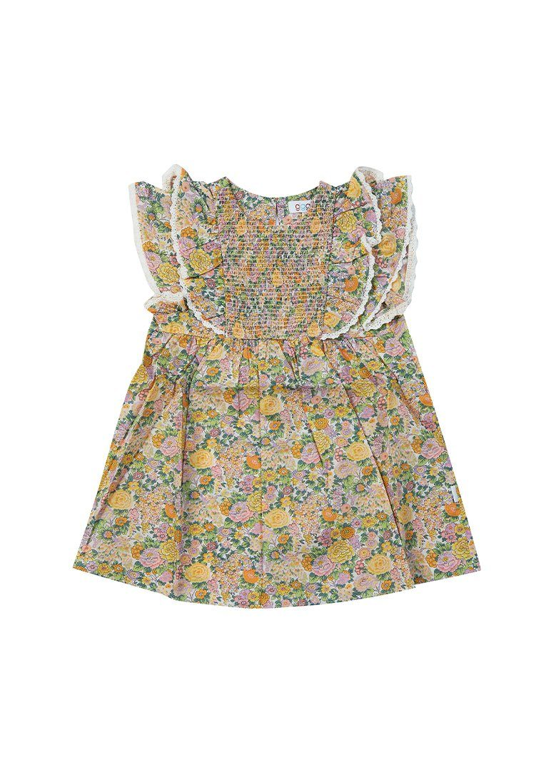 Erin Liberty Print Smocked Dress - Yellow Floral dress Giggle