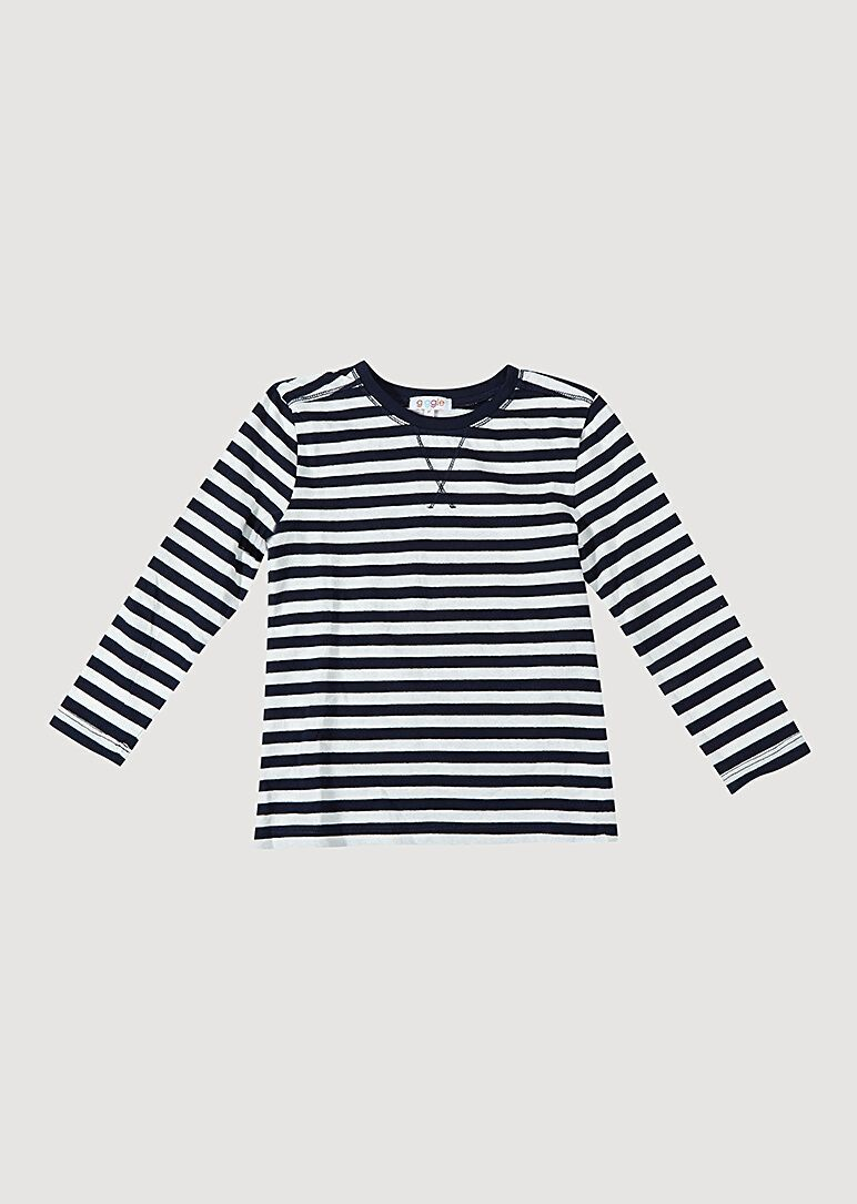Brooklyn Long Sleeve Tee - Navy/White Tee Giggle 12M DarkBlue