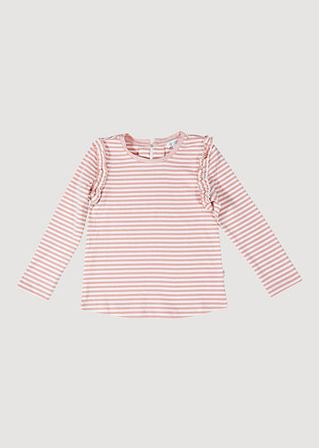 Sarah Ruffle Long Sleeve Tee - Pink/White Top Giggle LightPink 12M