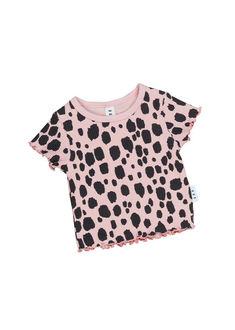 Ocelot Rib Tee With Lettuce Edge Top Huxbaby