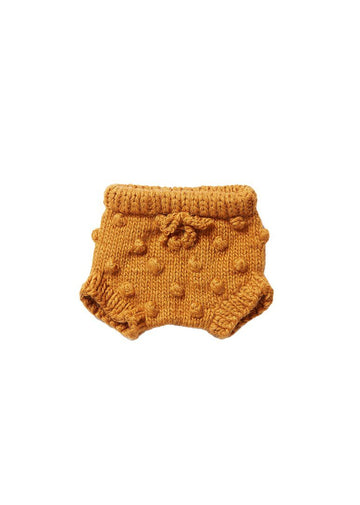 Hand Knit Popcorn Bloomers - Mustard Shorts The Blueberry Hill
