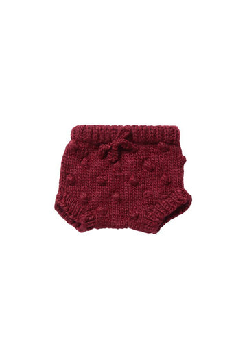 Hand Knit Popcorn Bloomers - Pomegranate shorts The Blueberry Hill