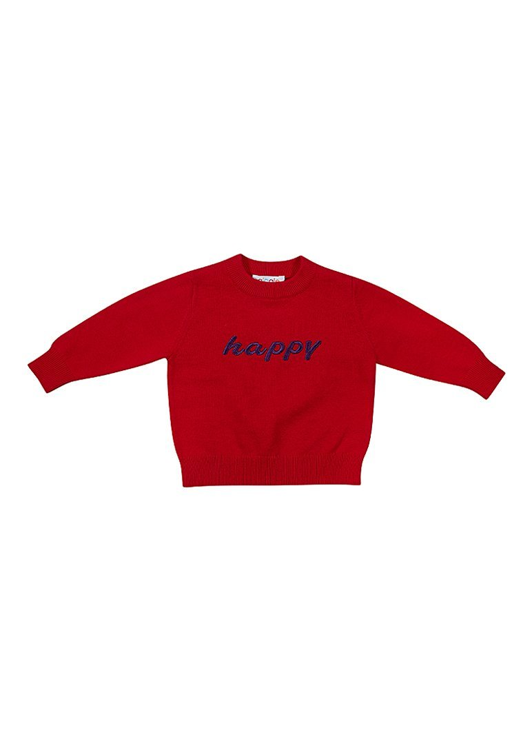 Happy Embroidered Red Cotton Crew Sweater Giggle