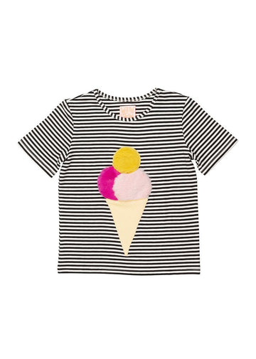 Ice Ice Baby T-shirt - Black & White Stripe Top Wauw Capow