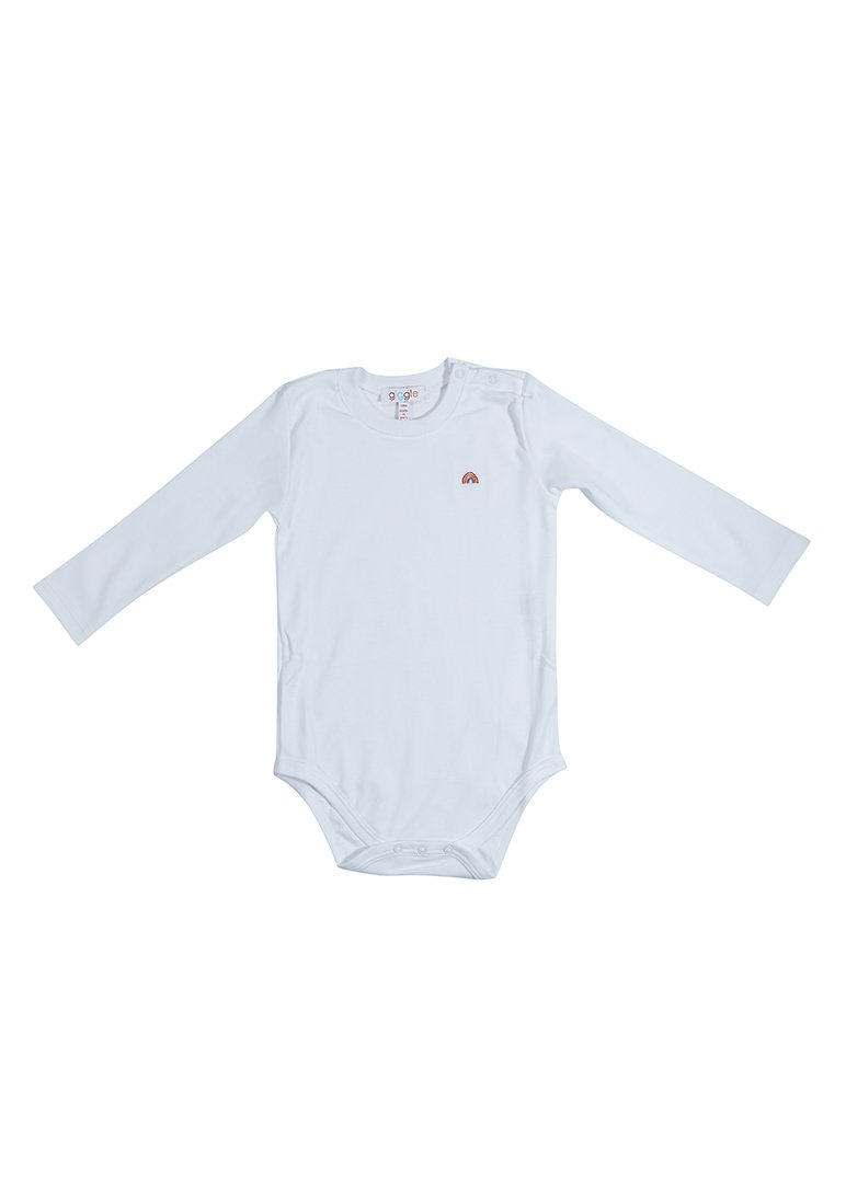 Rainbow Embroidery Solid White Long Sleeve Undershirt Onesie Giggle