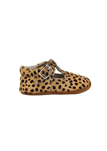 Soft-Soled Leather Baby Mary Janes - Leopard Shoes Babe Basics