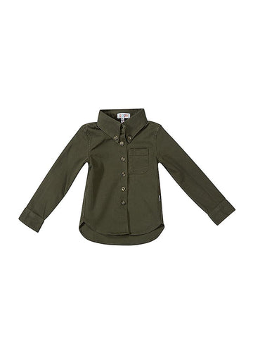 Levi Twill Boy Shirt - Green Top Giggle