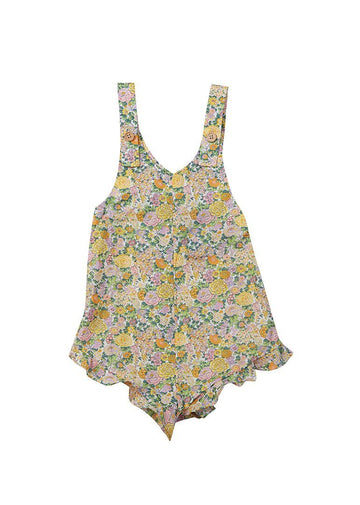 Lyla Liberty Print Romper - Yellow Floral Romper Giggle