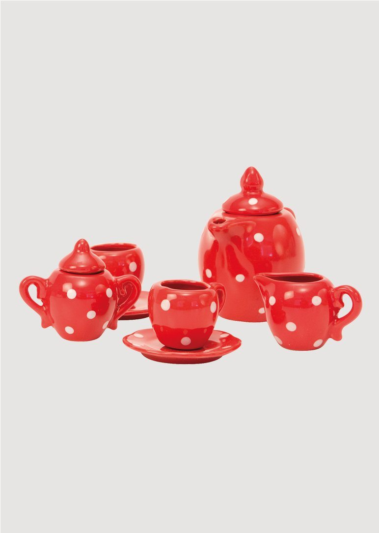 Red ceramic tea set Toy Moulin Roty
