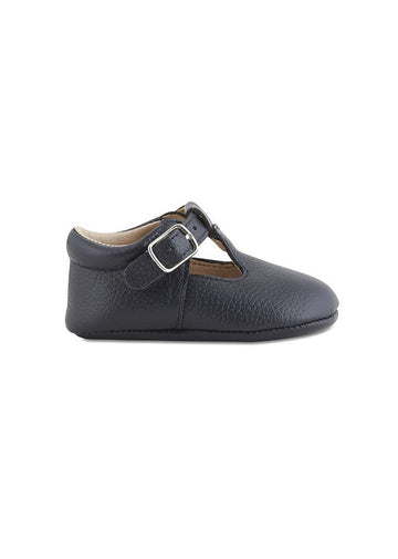 Soft-Soled Leather Baby Mary Janes - Navy Shoes Babe Basics