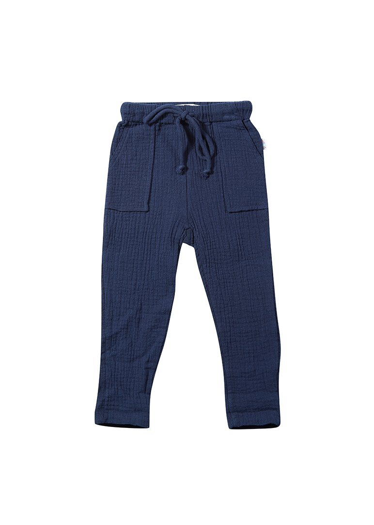 Phoenix Drawstring Cotton Pant - Navy Bottom Giggle
