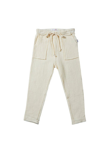 Phoenix Drawstring Cotton Pant - Seashell Bottom Giggle