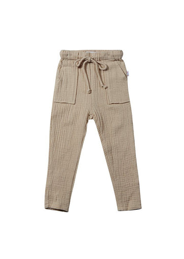 Phoenix Drawstring Cotton Pant - Wheat Bottom Giggle