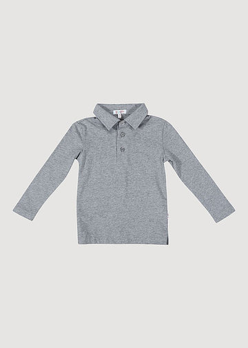 Kian Long Sleeve Polo - Grey Top Giggle 18M Grey