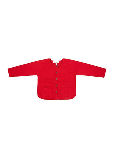 Ruth Merino Wool Cardigan - Red Cardigan Giggle