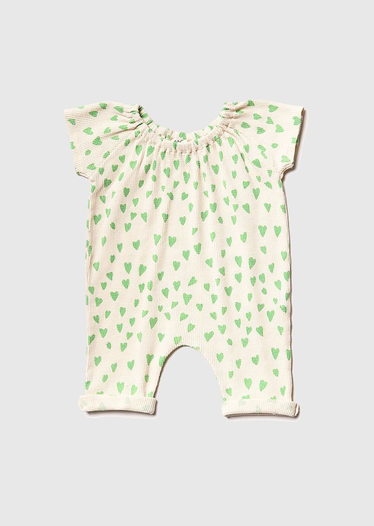 Printed Romper romper Noe and Zoe 3-6m green heart