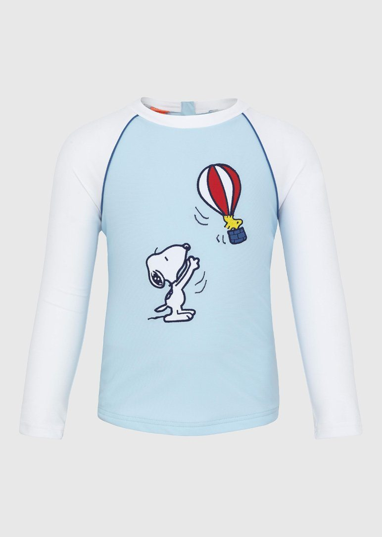 Boys blue snoopy long sleeve rash guard Swim Sunuva