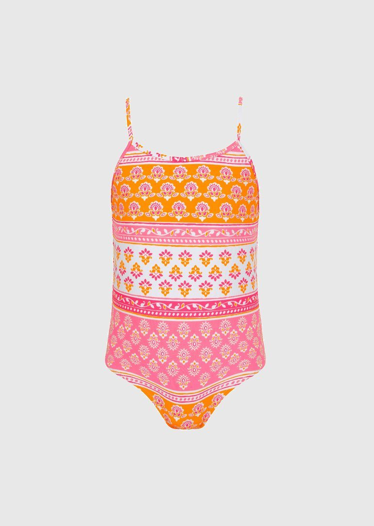 Girls sherbert pink block print strappy swimsuit Swim Sunuva