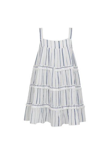 Blue Stripe Fringed Tier Dress Dress Sunuva