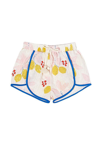 Millie Short - Antique White Lemons Shorts PINK CHICKEN