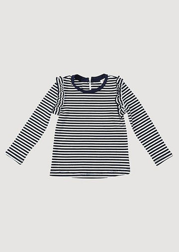 Sarah Ruffle Long Sleeve Tee - Navy/White Top Giggle