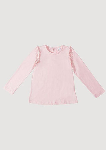 Sarah Ruffle Long Sleeve Tee - Pink Top Giggle