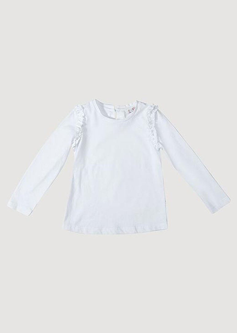 Sarah Ruffle Long Sleeve Tee - White Top Giggle